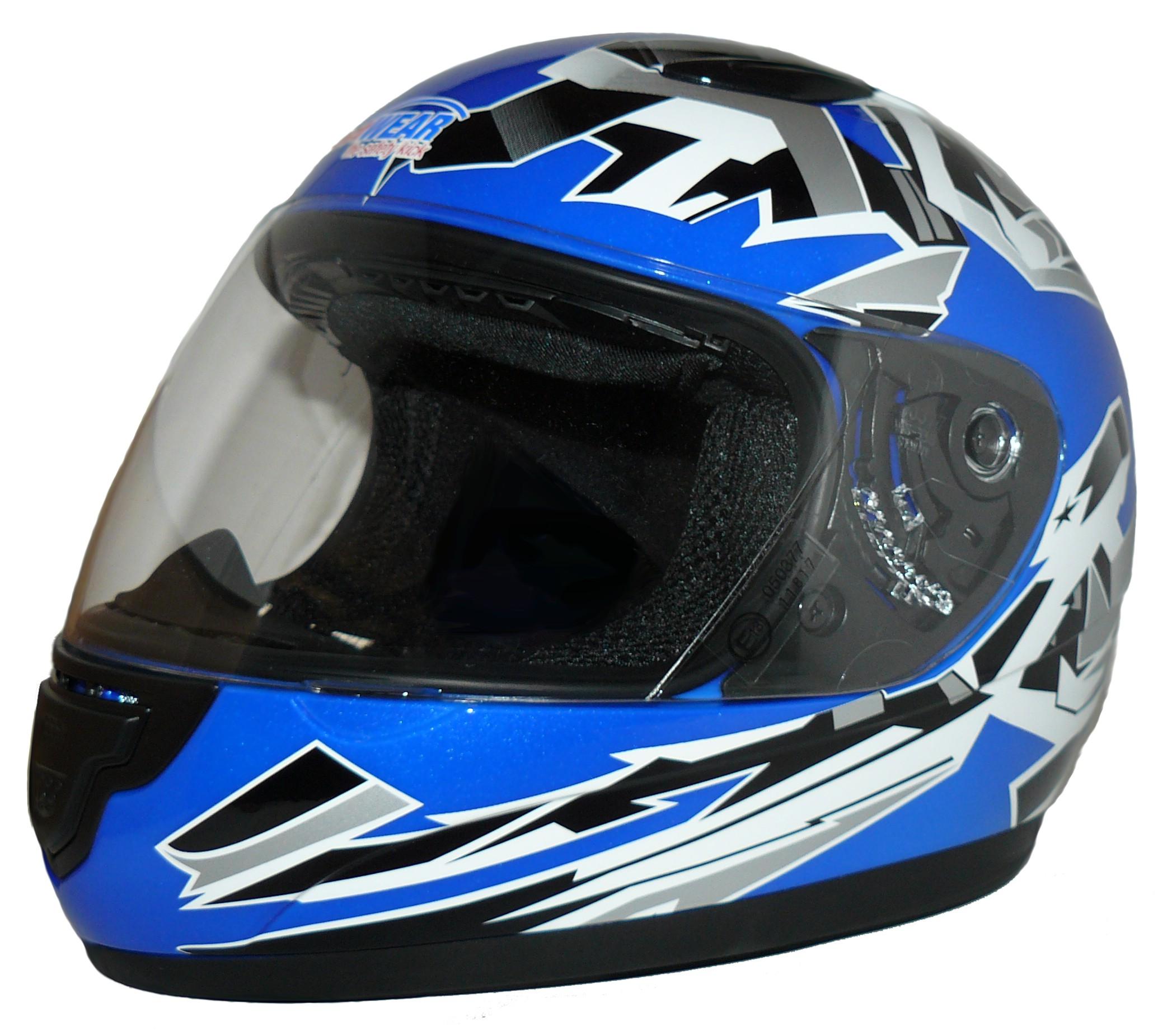 Kinder Motorradhelm blau mit Muster SA 03 BL